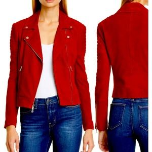 L' AGENCE Ryder suede moto jacket new XS RED